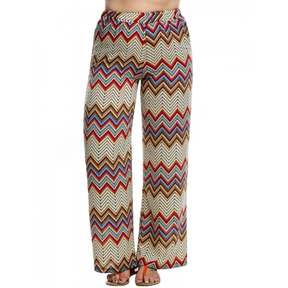 Meaneor Women Elastic Waist Multi-colors Print Wide Leg Pants Cotton Loose Casual Straight Trousers