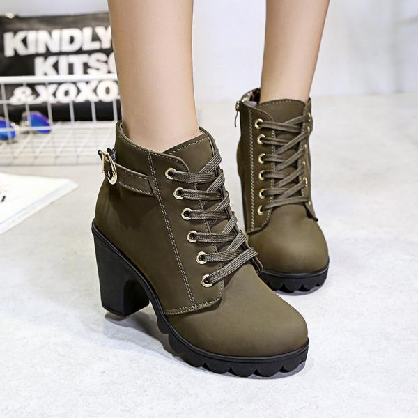 Winter Lace Up Belt Buckle Chunky Heel Martin Boots