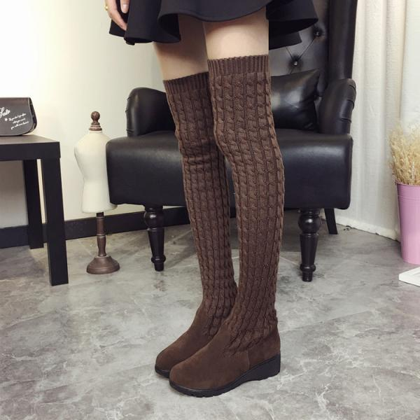 Fashion Knee-High Wool Canister Flat Warm Boots