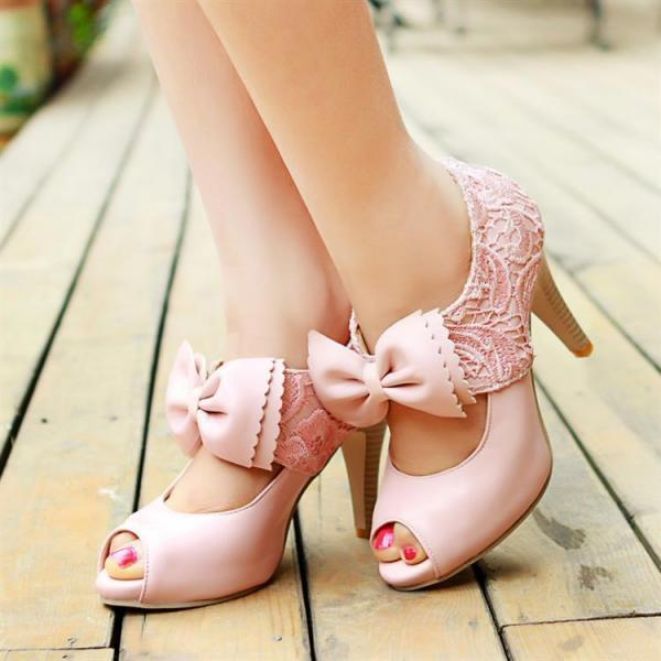 Hollow Out Bowknot Lace High Heel Shoes