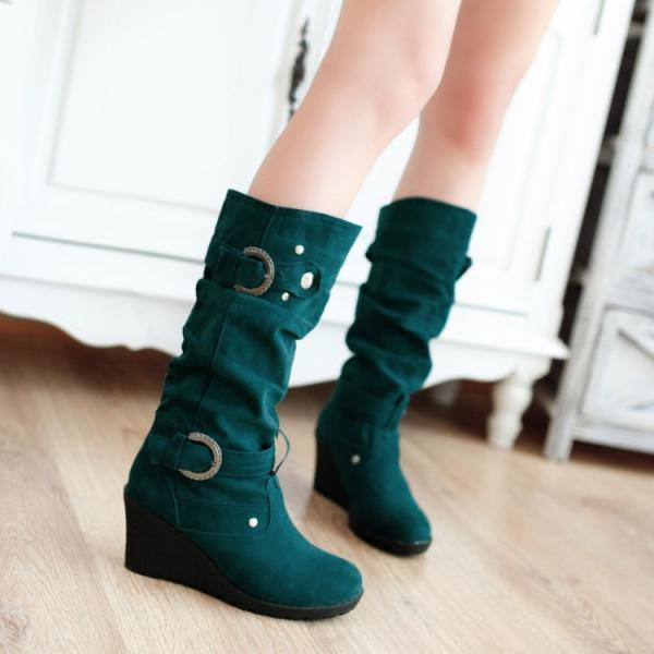 Fashion Buckle Wedges Round Head Calf Martin Boots