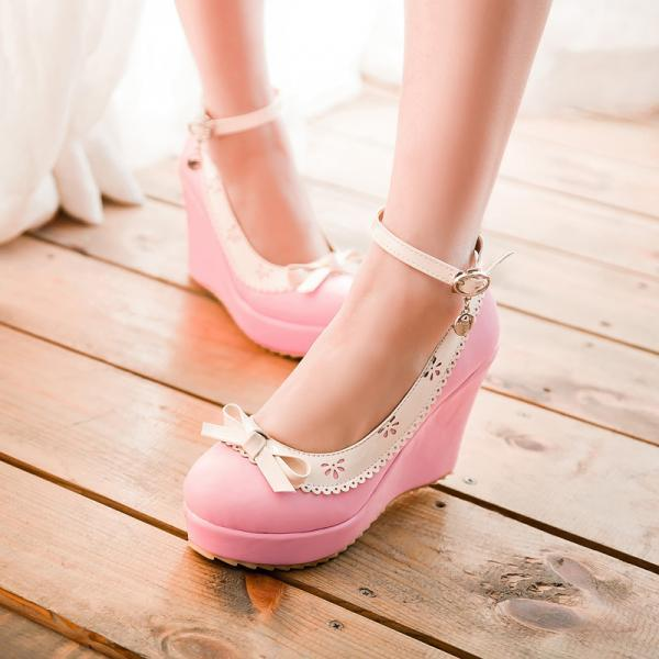 Sweet Bowknot Wedges Ankle Strap Shoes