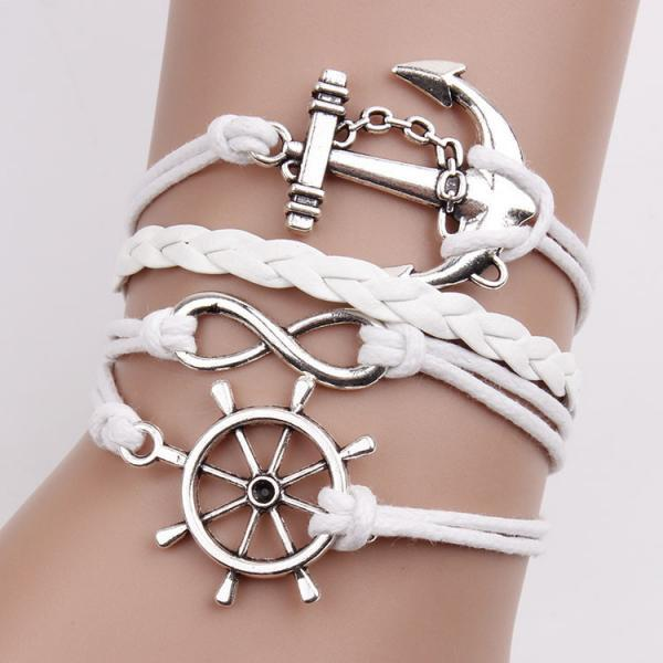 Anchor Number Eight Leather Bracelet