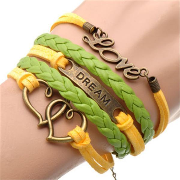 Retro Style LOVE DREAM Colorful Bracelet