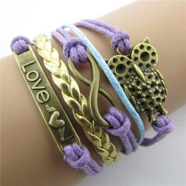 Romantic Owl Bright Hand-made Leather Cord Bracelet