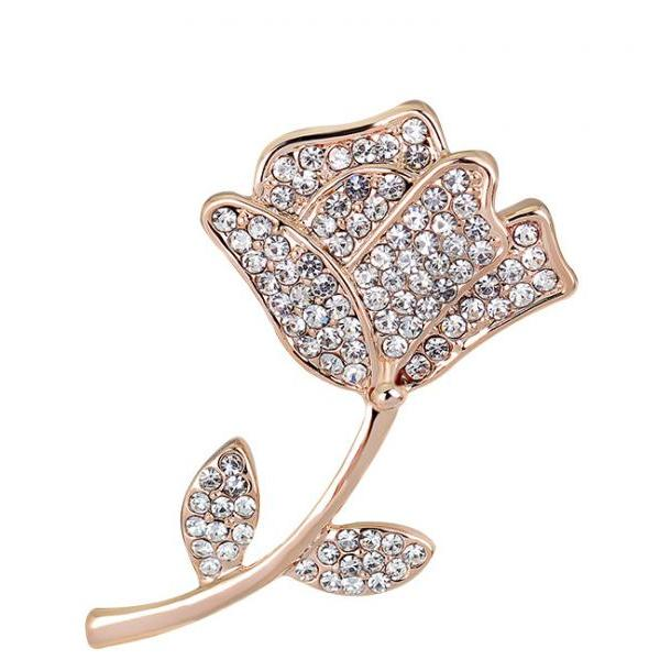 Fashion fresh rose diamond brooch