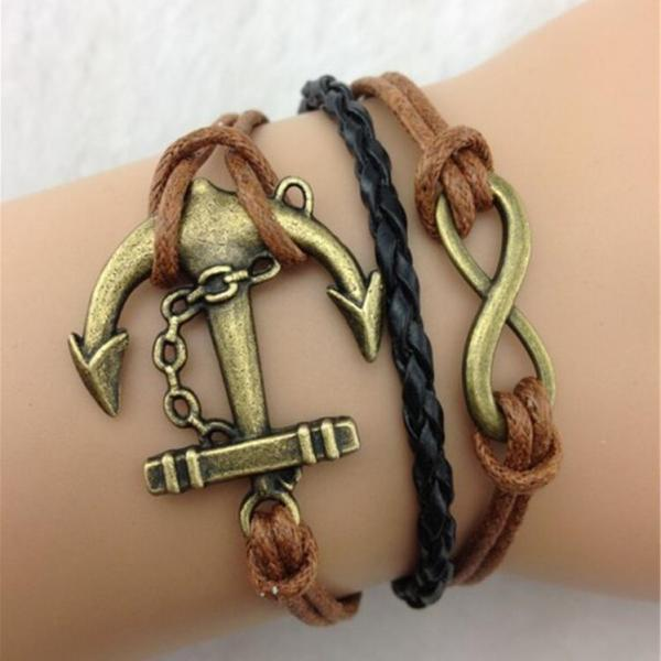 Vintage Anchor Hand Knitting Leather Christmas Bracelet