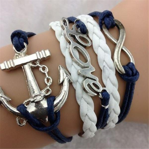 Europe LOVE 8 Anchor Fashion Leather Cord Bracelet