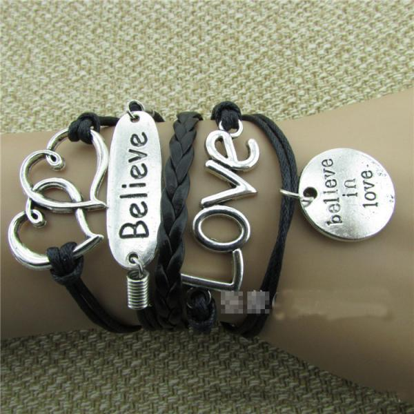 LOVE Heart Believe Handmade Multilayer Woven Bracelet