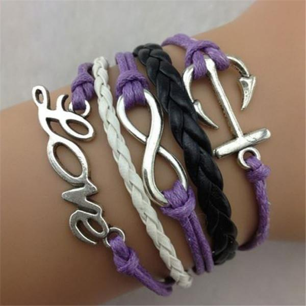 Hot Style Love Anchor Multilayer Woven Bracelet