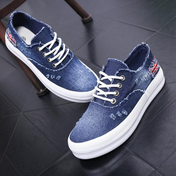 Ripped Denim Sneakers with Union Jack Logo