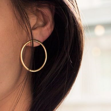 Oversized Hoop Stud Earrings In Gold or Silver, Jewelry