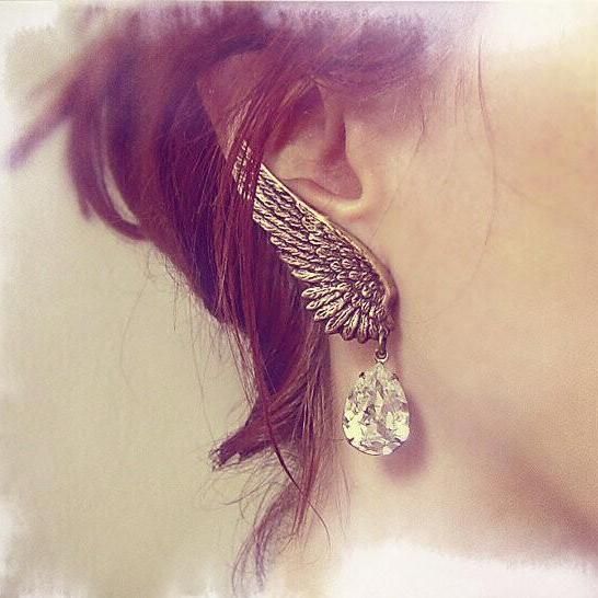 Luxury Angel Wings Crystal Tassel Earrings