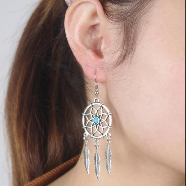 Retro Dreamcatcher Feather Tassels Earrings