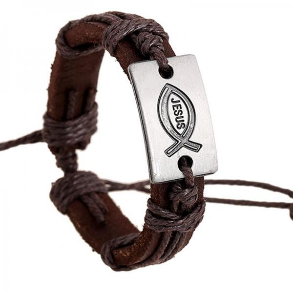 Alloy Jesus Fish Wintage Leather Bracelet