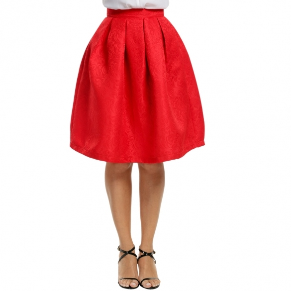 Women Fashion High Waisted Floral Knee Length Pleated Party Skirt