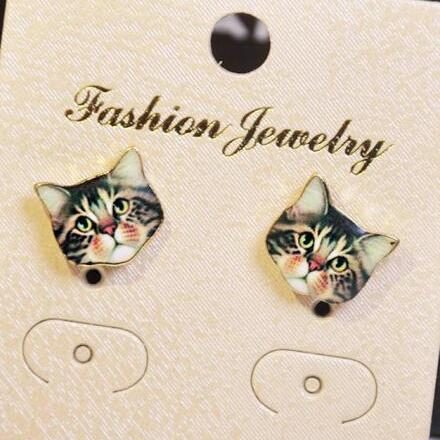 Korea Style Cute Cat Face Earrings