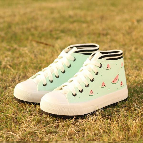 Watermelon / Cat and Fish Cartoon Printed Lace-Up Sneakers