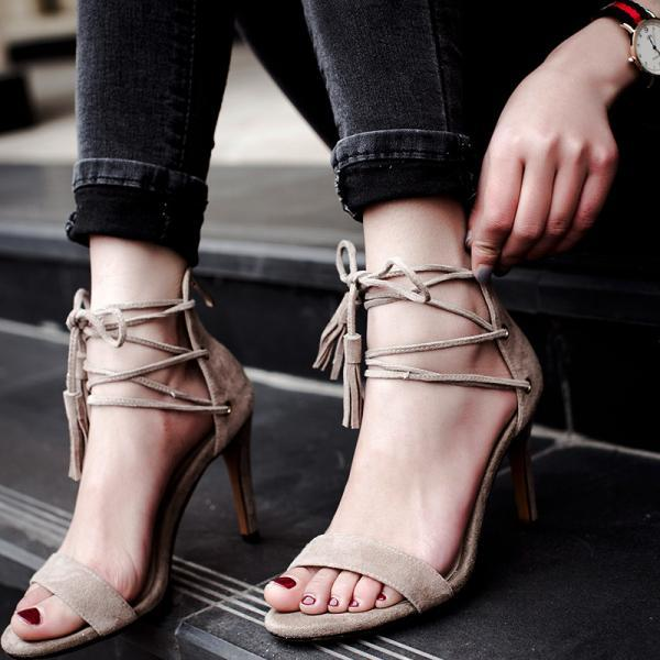 Suede Ankle Lace Up Tassel High Heeled Sandals