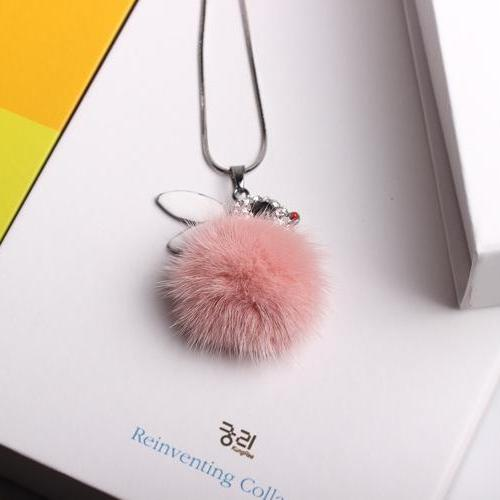Rabbit baby hair ball new Long Necklace