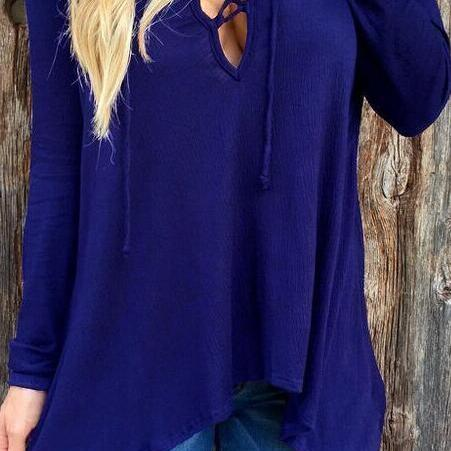 V Neck Cross Pure Color Hoodie Loose Blouse