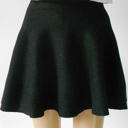 Fashion Knit Pleated Pure Color A-line Mini Skirt