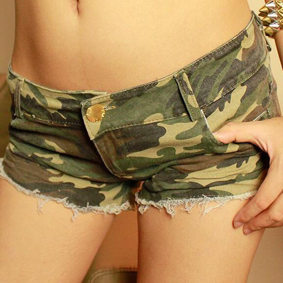 Sexy Camouflage Low Waist Women's Denim Shorts