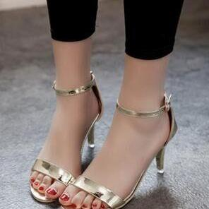 Metallic Open-Toe Ankle Strap High Heel Sandals