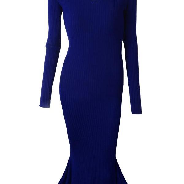 V-neck Long Sleeves Solid Sheath Pencil Long Dress