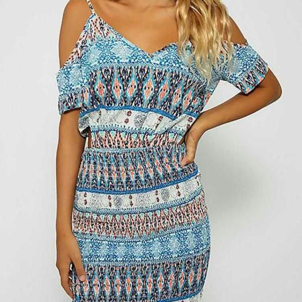 Off Shoulder Condole Belt Print Short Sleeves Dress